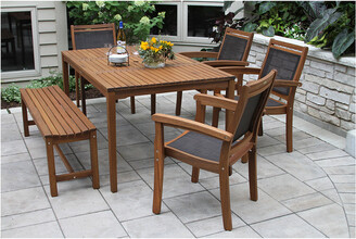 Outdoor Interiors 6Pc Eucalyptus & Sling Dining Set