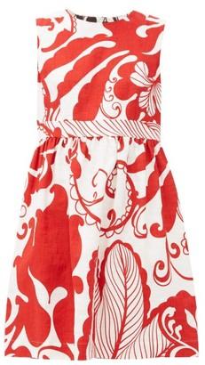 La DoubleJ Jackie Floral-print Cotton-blend Mini Dress - Womens - White Print