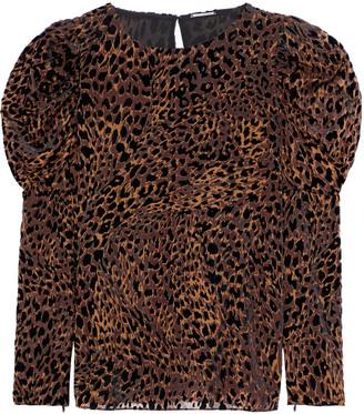 Elie Tahari Noelle Gathered Leopard-print Devore-velvet Blouse