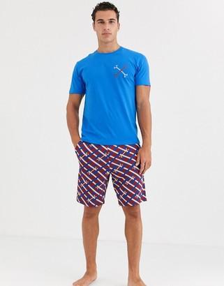 Asos Design DESIGN lounge pyjama shorts and tshirt set with print-Navy