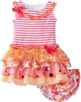 Bonnie Baby Baby-Girls Infant Sleeveless Stripe Knit to Multi Tiered Skirt