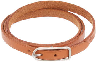 Hermes Palladium-Plated & Brown Leather Hapi 3 Mm Double Tour Bracelet