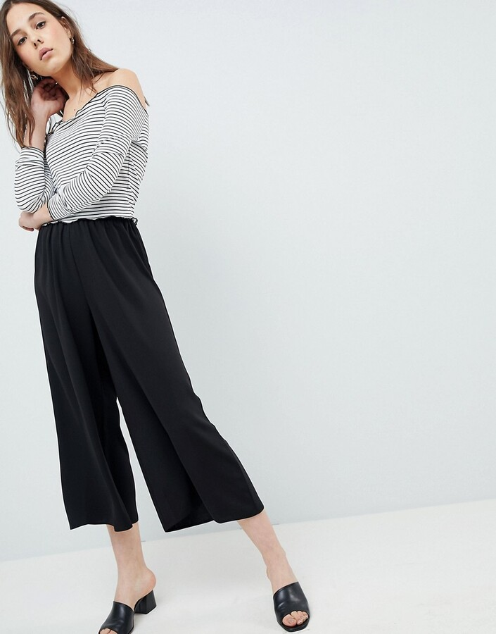 Asos Design DESIGN tailored easy elasticated waist soft culottes-Black