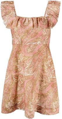 Zimmermann Paisley-Print Ruffle-Detail Dress