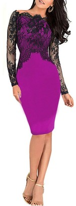 Isassy Party Lace dress - Women's Sexy Floral Lace Pencil Bodycon Evening Cocktail Party Formal Off Shoulder Long Sleeve Purple UK12 size L