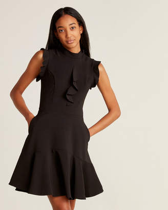 Laundry by Shelli Segal Black Cascade Ruffle Fit & Flare Dress
