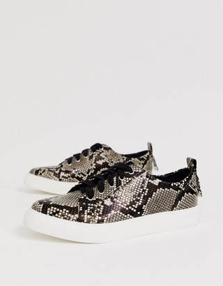 ASOS DESIGN Durban pointed lace up sneakers in snake print
