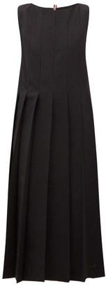 Thom Browne Oversized Wool-seersucker Pleated Dress - Black