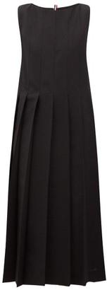Thom Browne Oversized Wool-seersucker Pleated Dress - Womens - Black
