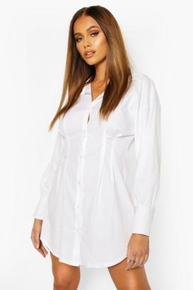 boohoo Corset Cinched In Waist Shirt Dress