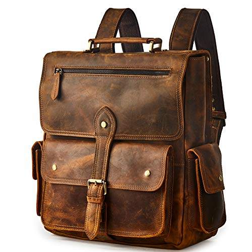 7021f54760ea BRASS TACKS Leathercraft Men's Convertible Crazy Horse Genuine Leather  Backpack 14