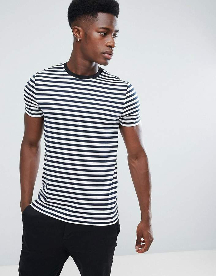 Asos Design Stripe T-Shirt In Navy And White