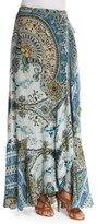 Etro Floral-Print Faux-Wrap Maxi Skirt, Green