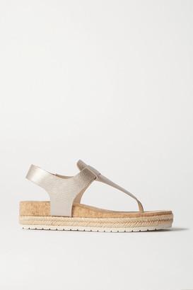 Vince Flint Leather Espadrille Platform Sandals - Gunmetal