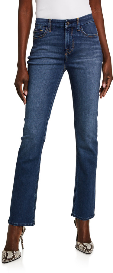 Thumbnail for your product : Jen7 High-Rise Slim-Fit Straight-Leg Jeans