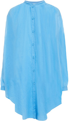 Skin Gathered Cotton-voile Coverup