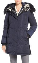1 Madison Women's Faux Fur Trim Chintz Hooded Down Coat