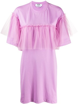 MSGM tulle-trimmed T-shirt dress