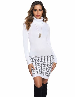 Abollria Womens Polo Roll Neck Long Sleeve Bodycon Ribbed Knitted Jumper Knitwear Sweater Dress