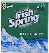 (PACK OF 6 BARS) Irish Spring ICY BLAST SCENT Bar Soap for Men & Women. 12-HOUR ODOR / DEODORANT PROTECTION! For Healthy Feeling Skin. Great for Hands, Face & Body! (6 Bars, 3.75oz Each Bar)