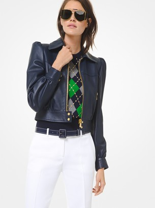 Michael Kors Plonge Leather Cropped Moto Jacket