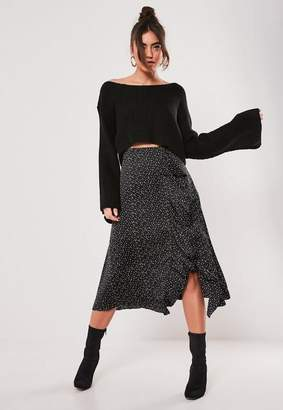 Missguided Petite Black Polka Dot Frill Midi Skirt
