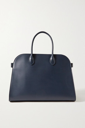 The Row Margaux 15 Buckled Leather Tote - Navy