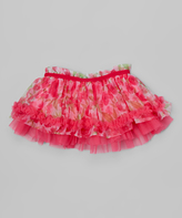 Baby Starters Hot Pink Floral Chiffon Tiered Tutu - Infant