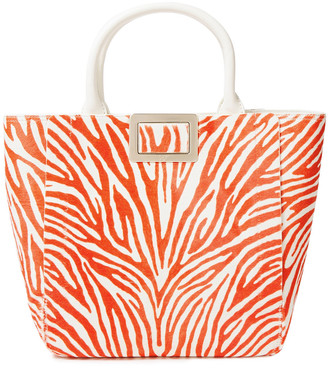 Roger Vivier Leather-trimmed Zebra-print Calf Hair Tote