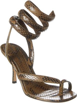 Bottega Veneta Spiral Ankle Strap Snake-Embossed Leather Sandal