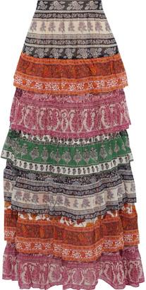 Zimmermann Amari Tiered Printed Cotton And Silk-blend Maxi Skirt