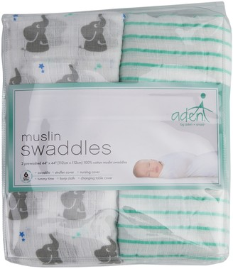 Aden Anais Baby aden + anais 2-pack Elephant & Striped Muslin Swaddles