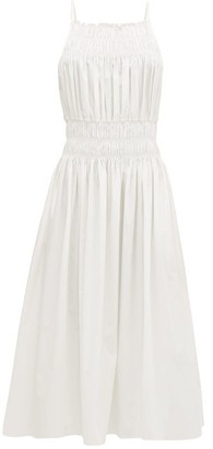 Three Graces London Ruched Cotton-poplin Midi Dress - White