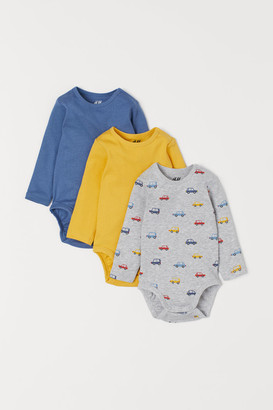 H&M 3-pack Cotton Bodysuits - Blue