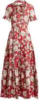 LA DOUBLEJ EDITIONS Long & Sassy Lilium-print silk-twill dress