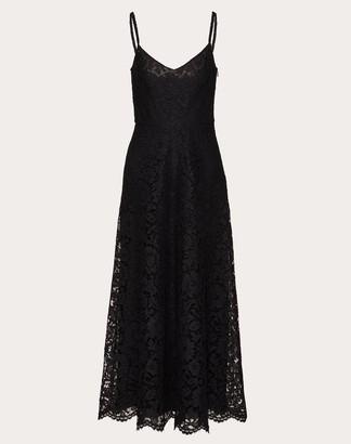 Valentino Heavy Lace Dress Women Black Viscose 43%, Cotton 34%, Elastane 23% 40