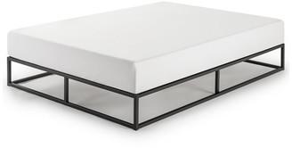 """Mellow Modernista 10"""" Full Metal Platform Bed Frame With Wooden Slats, Black"""