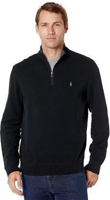 Polo Ralph Lauren Long Sleeve Lux Jersey 1/2 Zip (Aviator Navy) Men's Clothing