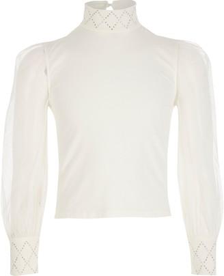 River Island Girls Cream mesh sleeve diamante top
