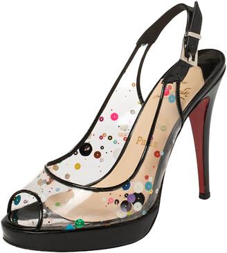 Christian Louboutin Black Patent And PVC Sequin Embellished Slingback Platform Sandals Size 38
