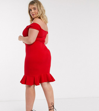 John Zack Plus exclusive bardot pencil dress with ruffle detail hem in red