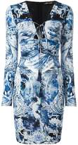 Roberto Cavalli multi-print fitted dress
