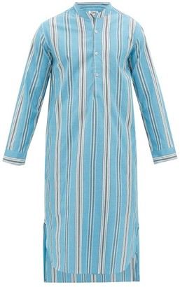 P. Le Moult - Striped Cotton-twill Pyjama Kaftan - Mens - Blue Multi