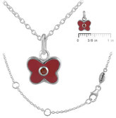 Ice 12-18 In Kids' Silver January Birthstone Butterfly Necklace For Girls