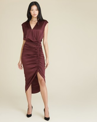 Veronica Beard Casela Ruched Stretch-Silk Dress