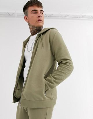 Asos Design DESIGN two-piece zip through hoodie in khaki with biker panels-Green