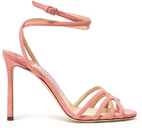 Jimmy Choo Mimi 100 Wrap Around Suede Sandals - Womens - Pink