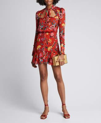 Alexis Morgana Floral Long-Sleeve Tie-Neck Dress