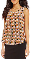 Kasper Chevron-Printed Sleeveless Top