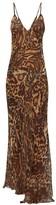 Raey Dip-hem Tiger-print Sheer Silk Slip Dress - Womens - Brown Multi